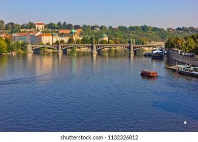 Cityscape with Vltava River and bridge in Prague, Czech Republic