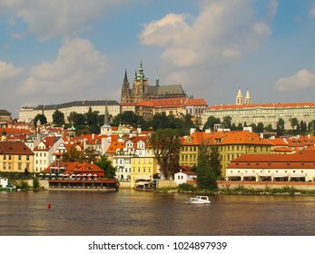 Cityscape with the Vltava River, The Prague Castle and The Saint Vitus Cathedral in Prague, Czech Republic
