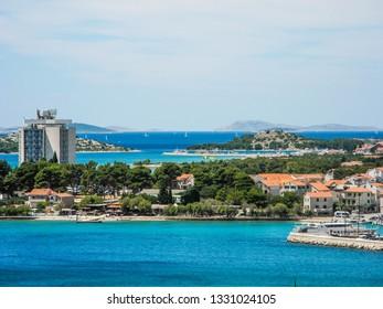 The cityscape of Vodice resort town, Croatia.