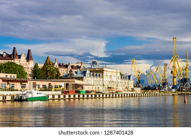 Cityscape of Vyborg. Historical city centre and port in Vyborg town, Russia
