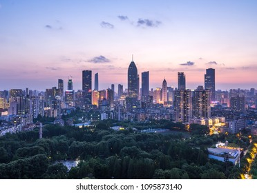 Cityscape of Wuhan city at night.Panoramic skyline and buildings in financial district.