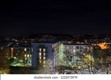 Cityscape of Wuppertal, Germany at night