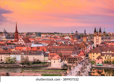 Cityscape of Wurzburg with sunset shade. Wurzburg is a city in the region of Franconia, Northern Bavaria, Germany.