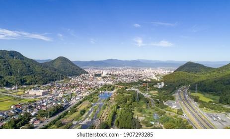 Cityscape in Yamagata City, Yamagata Prefecture, Japan