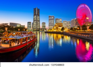 Cityscape of Yokohama city at sunset, Japan