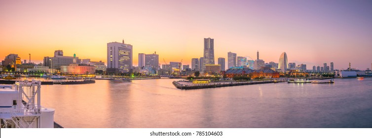 Cityscape of  Yokohama in Japan at twilight