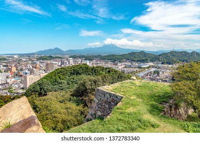 Cityscape of the Yonago city from the Yonago castle in Japan