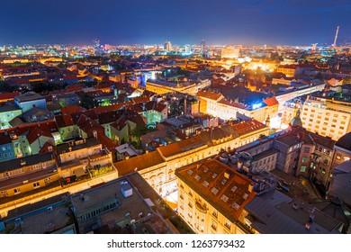 Cityscape of Zagreb (Croatia) by night