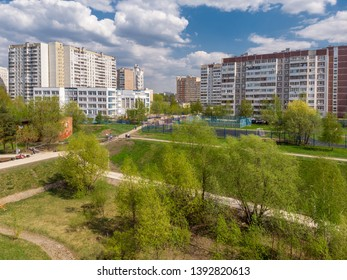 Cityscape in Zelenograd Administrative District in Moscow, Russia