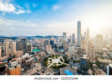 Cityscape of Zhongshan Square, Dalian, Liaoning, China