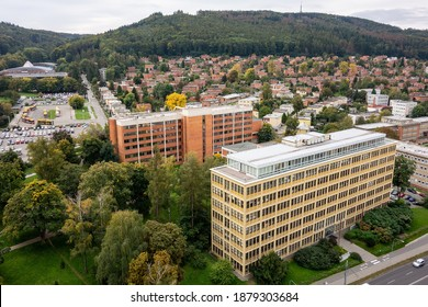 The cityscape of Zlin town and Bata houses estates built on a hill - Shutterstock ID 1879303684