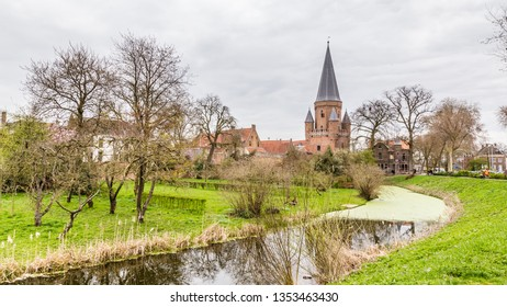 Cityscape of Zutphen with Drogenaps tower, a medieval city along the river IJssel in Gelderland in the Netherlands