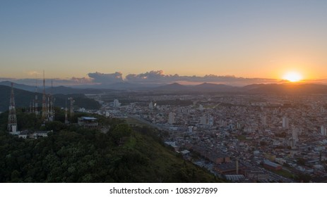 Cityscapes: Aerial View of Sunset in Itajai, Brazil
