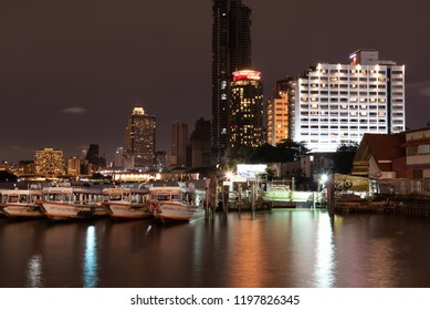 Cityscapes of Chao Phraya river at night around Asiatique Bangkok, Thailand 18 Aug 2061