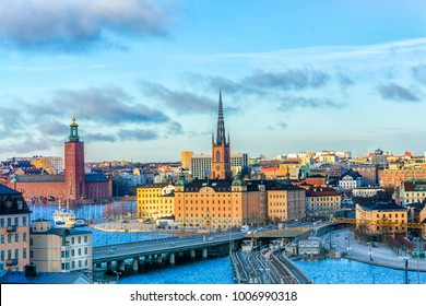 Cityscapes of the city of Stockholm and a panoramic view of the Old Town (Gamla Stan) in Stockholm, the capital of Sweden