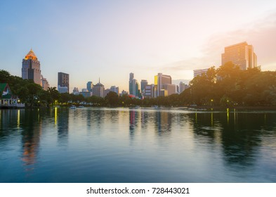 cityscapes of metropolis at sunset. beautiful city park in Bangkok Thailand.