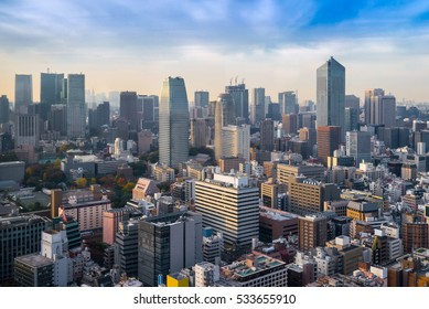 Cityscapes of tokyo in Fog winter, Skyline of Tokyo, office building and downtown of tokyo in minato, Japan, Tokyo is the world's most populars metropolis and centers for world business.