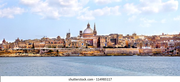 cityview of the capital city of Malta ; Valetta with his beautiful historic buildings and churches on the skyline