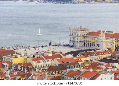 Cityview to commerce square and Tagus River in Lisbon