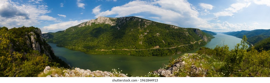 Ciucarul mic, cazanele dunarii mountain peak aerial panorama