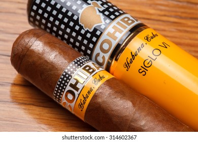 Ciudad de Mexico, Mexico - August 1, 2015: Cohiba Cigar. This Cuban brand is filled with tobacco that comes from the Vuelta Abajo region of Cuba which has undergone an extra fermentation process.