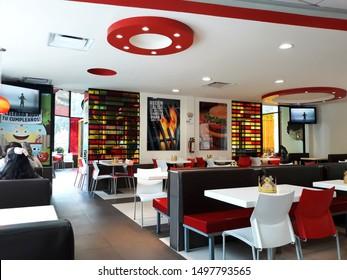 Ciudad de Mexico, CDMX / Mexico - 09 05 2019: Burger King fast food restaurant, Av. Henry Ford y Ferrorarril Hidalgo, Inside Fast Food Restaurant