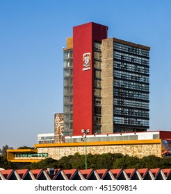 CIUDAD DE MEXICO / MEXICO - FEBRUARY 23 2016: View of the Rectoria Building of National Autonomous University of Mexico (Universidad Nacional Autonoma de Mexico, UNAM)