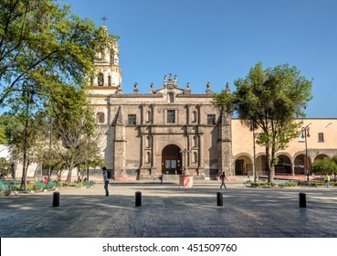 CIUDAD DE MEXICO / MEXICO - JANUARY 28 2015: San Juan Bautista Parish, Coyoacan. Built between 1520 and 1552, it is one of oldest churches in Mexico City
