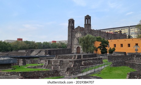 Ciudad de Mexico, Mexico – July 13, 2021: The Plaza de las Tres Culturas (Square of the Three Cultures) in Tlatelolco neighborhood has buildings of the three periods of Mexican history.