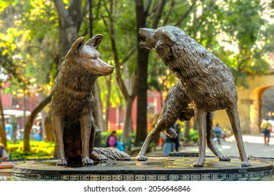 CIUDAD DE MEXICO - MEXICO - October 02 2021: Coyotes fountain in Jardin Centenario, Coyoacan, Mexico City