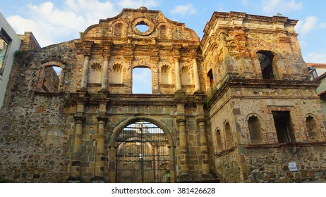 Ciudad de Panama, Panama / Panama - December 15 2014: Compania de Jesus Church were constructed around 1741. The church was destroyed by a fire in 1781 and further damaged by an earthquake in 1882