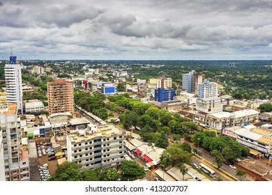 Ciudad del Este, Paraguay - December 5, 2015: Aerial view of Ciudad del Este, the second largest city in Paraguay, on the border with Foz do Iguacu, Brazil.