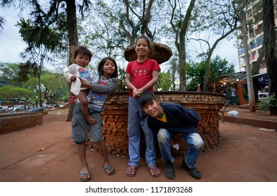 Ciudad Del Este, Paraguay, July 21, 2018.  Street Candid Scene Photography of South America Guarani Brethren Family town Ciudad del Este Border Brazil Landmark