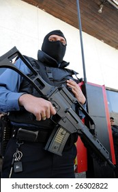 CIUDAD JUAREZ, MEXICO - FEB 27: A masked and armed special forces soldier stands ready to face drug cartels on February 27, 2009, in the violence-ridden border city of Ciudad Juarez, Mexico.