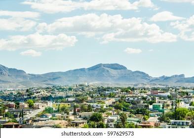 Ciudad Juárez in Mexico cityscape or skyline, viewed from border with El Paso, Texas