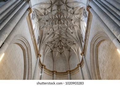 CIUDAD RODRIGO, SPAIN - APRIL 2016: Pillars and ceiling of the ciudad rodrigo cathedral, in spain