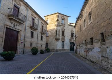 CIUDAD RODRIGO, SPAIN - MARCH 05, 2021: Marchioness of Cartago house in the old town of Ciudad Rodrigo at sunset, Salamanca, Castilla y León, Spain.