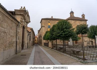 CIUDAD RODRIGO, SPAIN - MARCH 05, 2021: Old town of the city of Ciudad Rodrigo, Salamanca, Castilla y León, Spain.