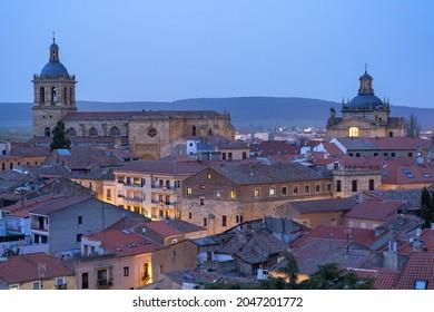 CIUDAD RODRIGO, SPAIN - MARCH 05, 2021: Aerial view of the city of Ciudad Rodrigo illuminated at night, Salamanca, Castilla y León, Spain.