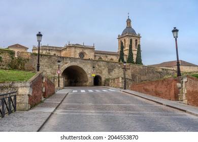 CIUDAD RODRIGO, SPAIN - MARCH 06, 2021: Cathedral of the city of Ciudad Rodrigo at sunset, Salamanca, Castilla y León, Spain.