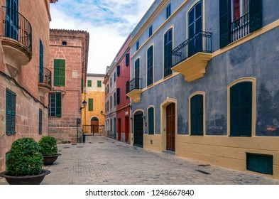 Ciutadella de Menorca, Spain - September 18 2016: Colorful buildings and shops in the old town