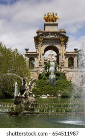 Ciutadella park in Barcelona with monument and fountain
