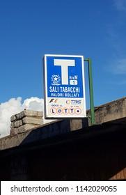 CIVENNA, ITALY - JULY 21, 2018: An Italian tobacco shop sign in Civenna, Italy.