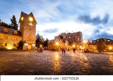 Civic Centre (Centro Civico) and main square in downtown Bariloche City  at sunset - San Carlos de Bariloche, Argentina