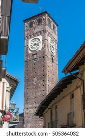 Civic Tower in Grugliasco, Turin, Italy Grugliasco,Turin,Italy,Europe - August 23, 2016 : View of the Civic Tower in the old town