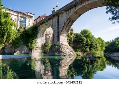 Cividale del Friuli and devil's bridge photographed from Natisone river