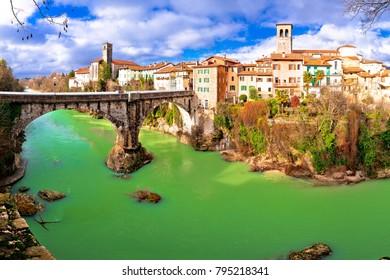 Cividale del Friuli devil's bridge and Natisone river canyon panoramic view, Friuli-Venezia Giulia region of Italy