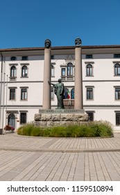 Cividale del Friuli, Italy (15th August 2018) - Foro Giulio Cesare square with the monument to the actress Adelaide Ristori and high school Liceo Classico Paolo Diacono in the background