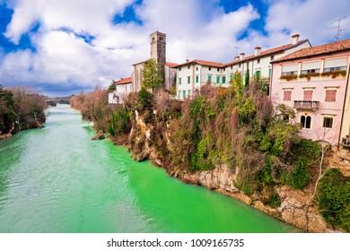 Cividale del Friuli on cliffs of Natisone river canyon, Friuli-Venezia Giulia region of Italy