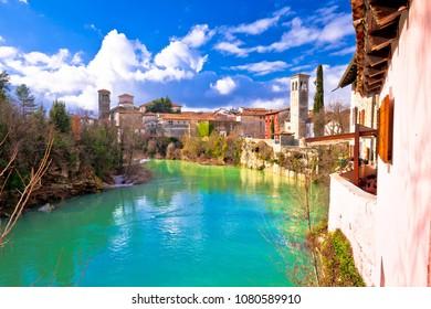 Cividale del Friuli on cliffs of Natisone river canyon view, Friuli-Venezia Giulia region of Italy